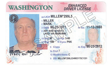 Sample photo of enhanced driver license