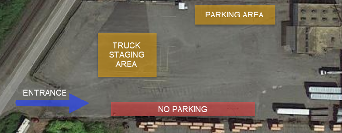 Photo of Everett testing location parking lot. Further details below.
