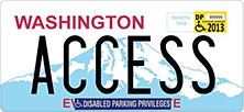 License plate showing location of disabled parking tab and decal.
