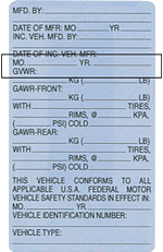 Example showing location of GVWR on commercial vehicle label.
