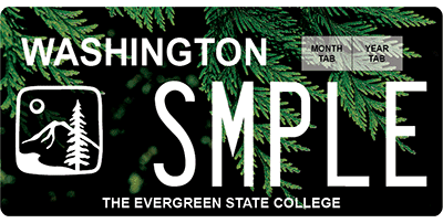 The Evergreen State College license plates