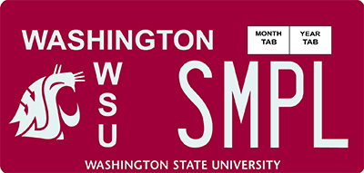 Washington State University license plates