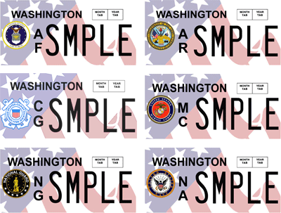 Armed forces license plate designs
