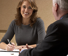 Woman smiling at job interview