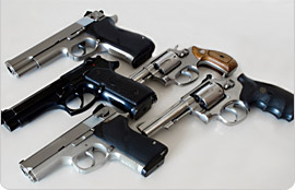 5 different handguns
