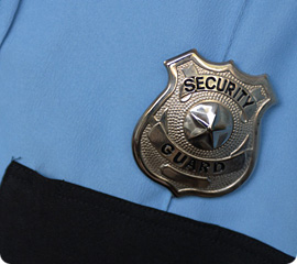 Closeup of security guard badge