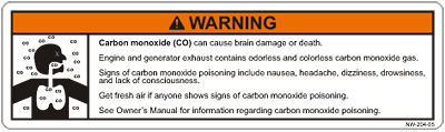 Carbon monoxide sticker
