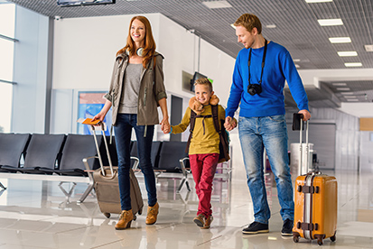 Family traveling in an airport
