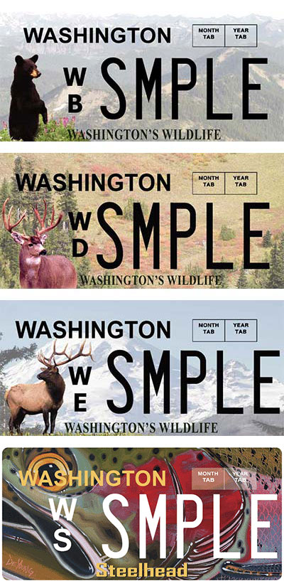 Washington's Wildlife plates (bear, deer, and elk)